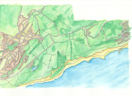 Hastings country park. Watercolour