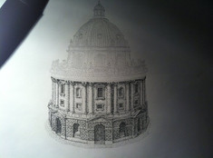 Radcliffe camera (in progress). Pen and Ink
