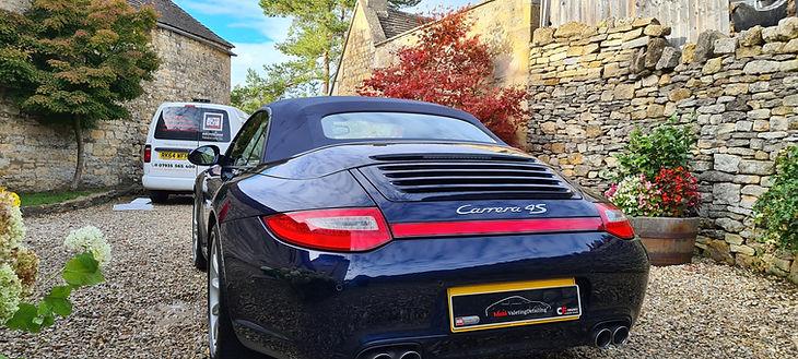 Blue Porsche Carrera 4S detailing and paint correction on a Cotswolds driveway
