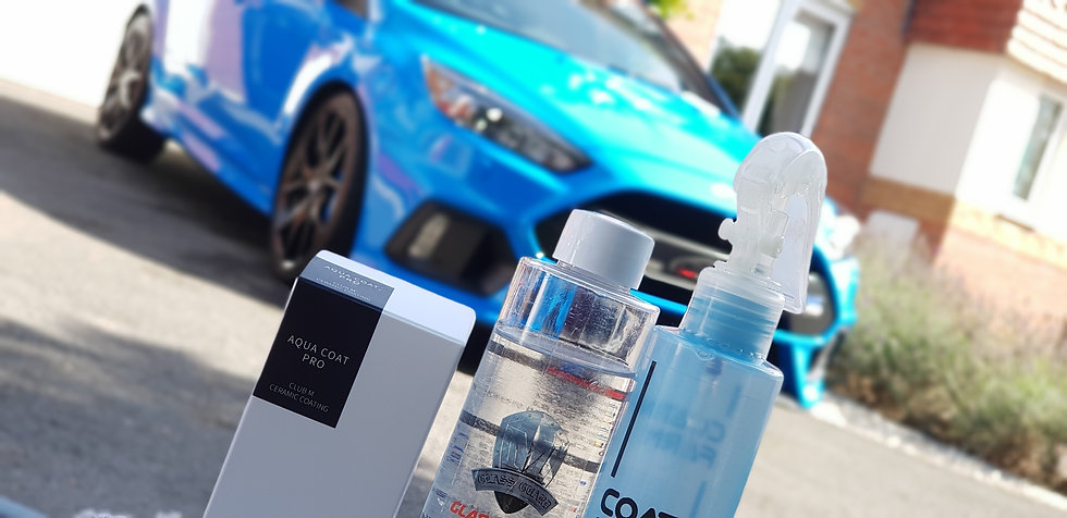 Ford Focus RS with a Mobi ValetingDetailing custom plates and Coating Farm Ceramic products on display