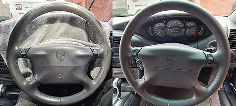 Porsche steering wheel restoration, recolouring before and after with a Mobi ValetingDetailing branded van