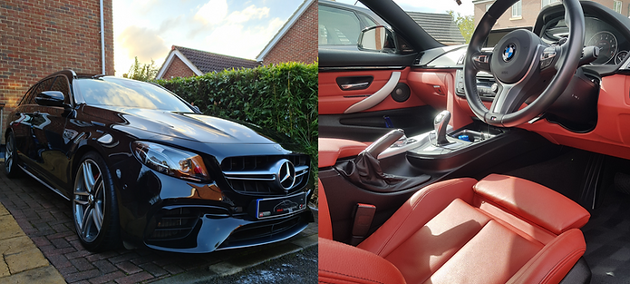 Exterior picture of a Mercedes-Benz AMG E63 with a Mobi ValetingDetailing plate and interior of a BMW 4 Series with red leather upholstery