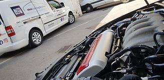 Alfa Romeo engine bay detailed and Mobi ValetingDetailing van