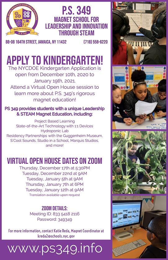 PS 349 Kindergarten Application Open Hou