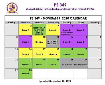 November 2020 Cohort Calendar Update 11/