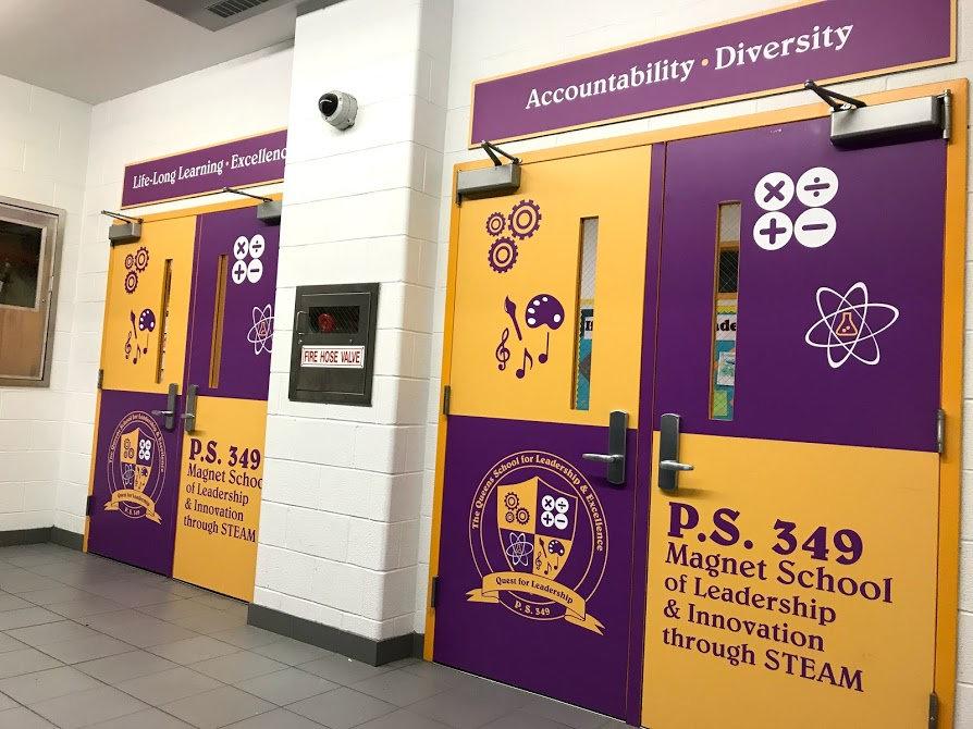 Purple and yellow school doors