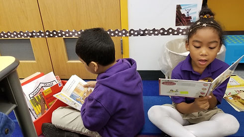 Students practicing reading independently
