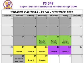 September 2020 Calendar - Updated 9/7/20
