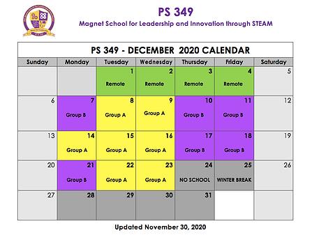 December 2020 Cohort Calendar Updated 11
