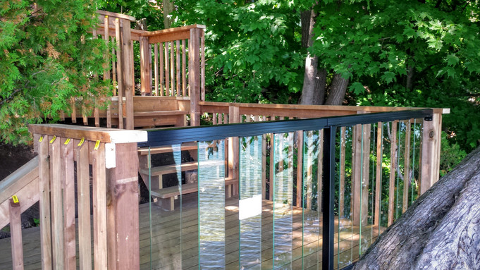 Multistepped decks and glass railings