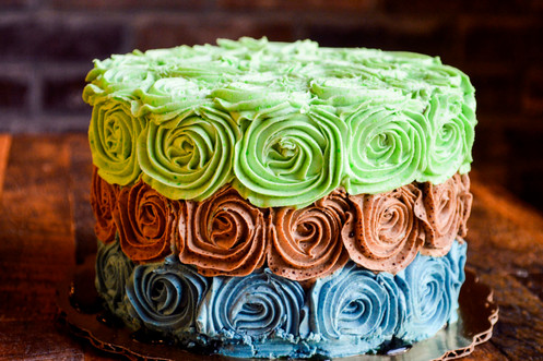 Chocolate Layered Cake With Naturally Dyed Vanilla Rose Frosting Gluten Free And Vegan