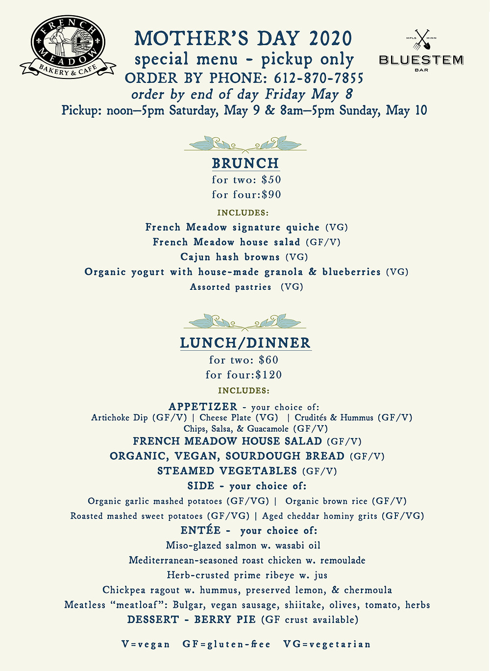 Mother's Day at French Meadow 2020 menu