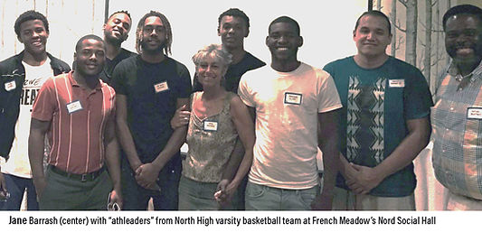 jane barrash & north high athleaders at Nord Social Hall of French Meadow