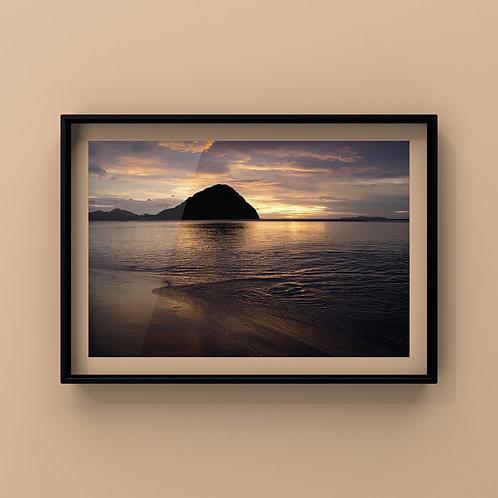 額入写真 ≪菊が浜の夕景≫