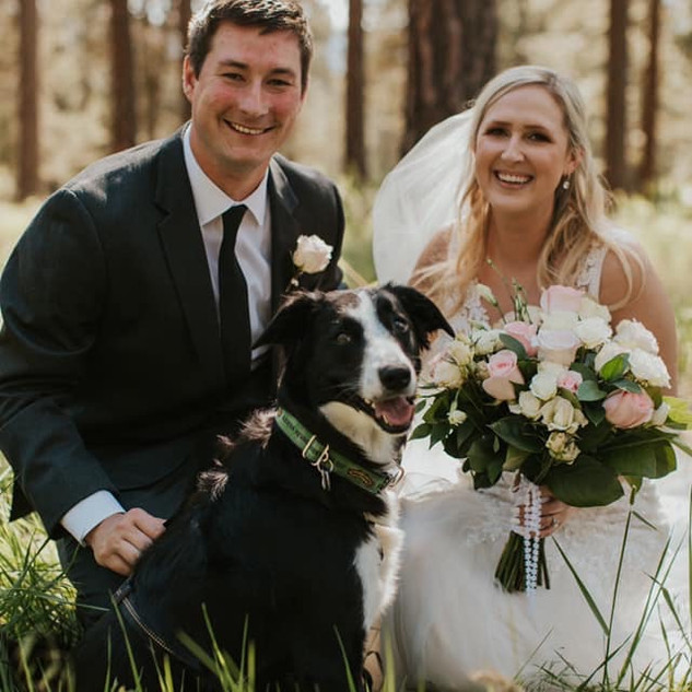 bride, groom and pup