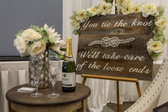 Wedding sign and champagne
