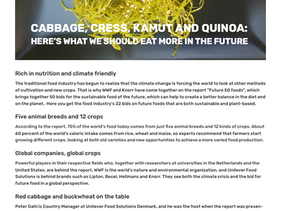 CABBAGE, CRESS, KAMUT AND QUINOA:HERE'S WHAT WE SHOULD EAT MORE IN THE FUTURE