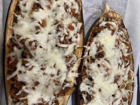 Recipe for Italian-Style Eggplant with Rye Berries (source Amazing grains by Ghillie James)