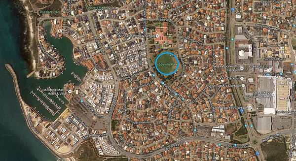 Map of Mindarie Football Club Venue at Abbeville Park Mindarie, Perth, Wester Australia, 6030