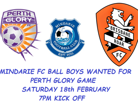 Mindarie FC - Ball Boys required for Perth Glory