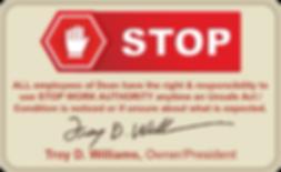 DEAN Stop Card explains Dean safe work environment
