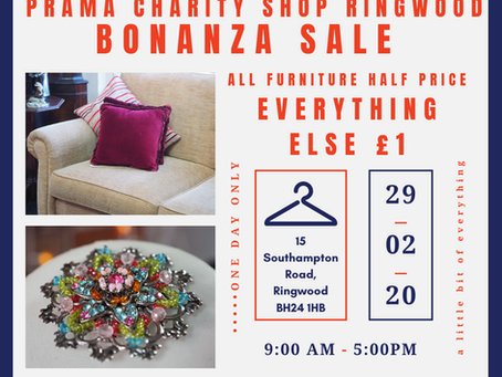 Ringwood Charity Shop Fundraiser Bonanza day! 29th Feb 2020