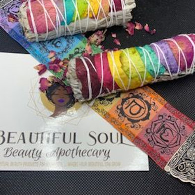 Rose Wrapped Chakra Sage Sticks