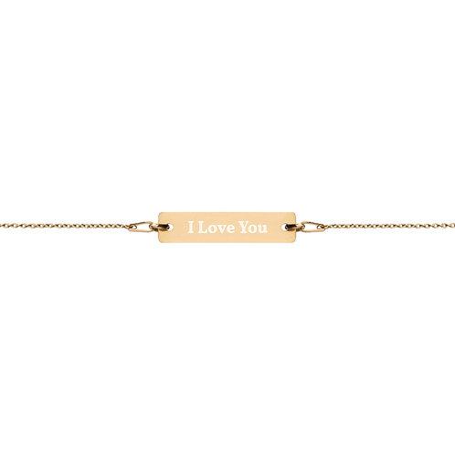 I LOVE YOU Engraved Silver Bar Chain Bracelet