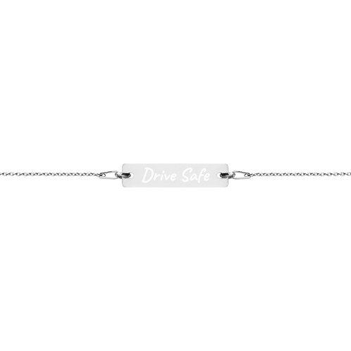 DRIVE SAFE Engraved Silver Bar Chain Bracelet