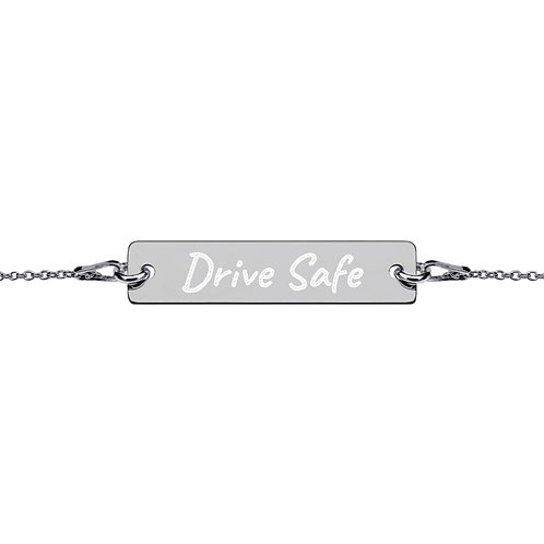 DRIVE SAFE Engraved Silver Bar Chain Bracelet copy