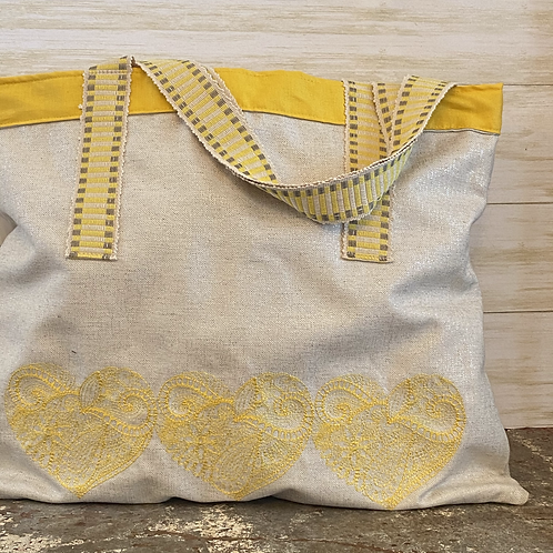 Embroidered Shoulder Bag in Yellow Hearts