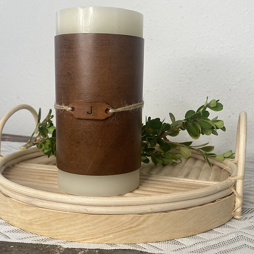 Tall Leather Wrap Candle