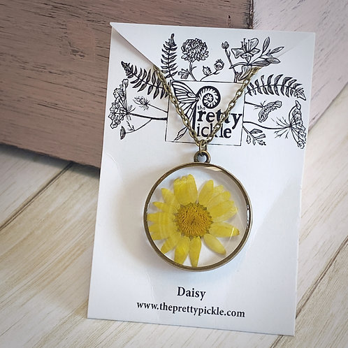 Yellow Daisy Chrysanthemum Necklace