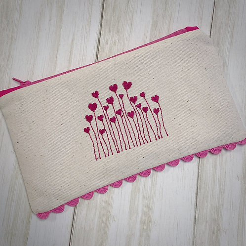 Pink Field of Hearts Zipper Pouch