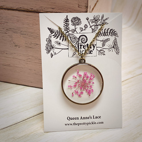 Pink Queen Anne's Lace Necklace