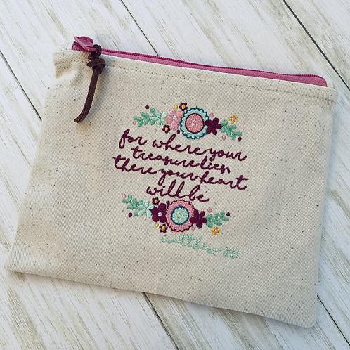 Treasure Embroidered Zipper Pouch