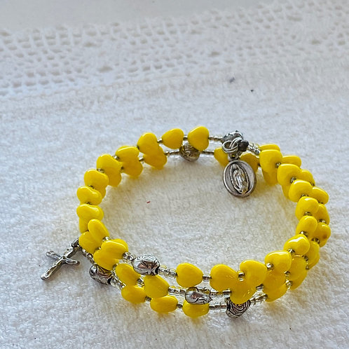 Rosary Bracelet in Yellow Hearts
