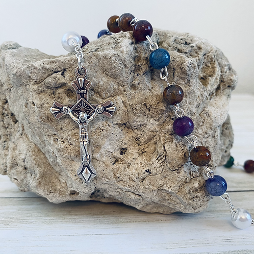 Multi-color Acrylic Bead Rosary with Miraculous Medal
