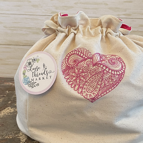 Embroidered Ditty Bag in Paisley Heart