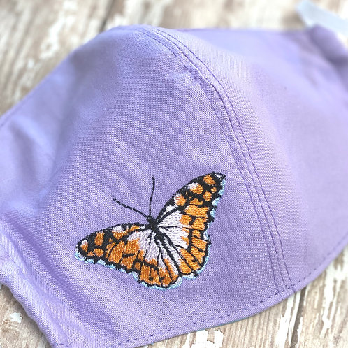 Embroidered Butterfly Face Mask in Lavender