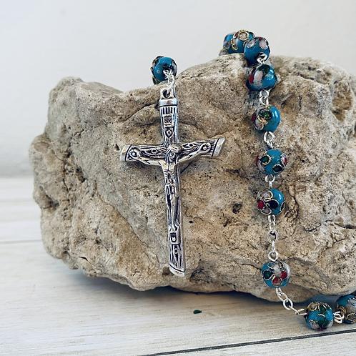 Light Blue Cloisonné Linked Rosary