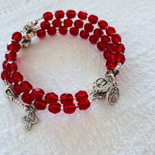 Rosary Bracelet in Red Stone