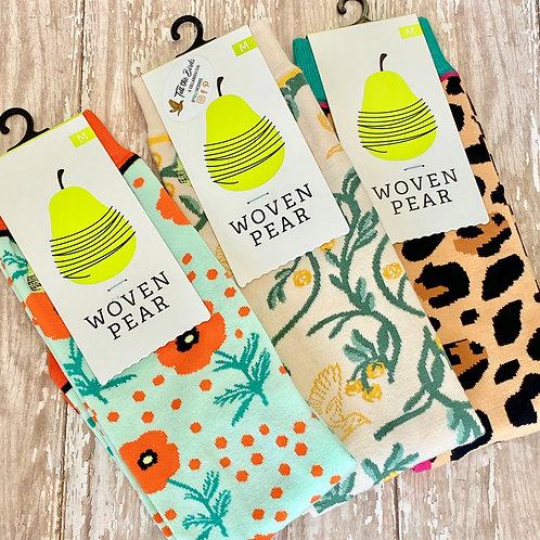 Woven Pear Crew Socks