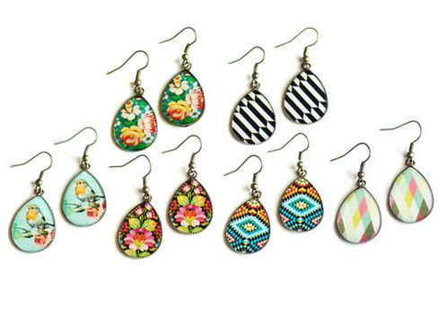 Pattern Drop Earrings