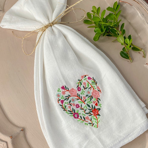 Floral Heart Hand Towel