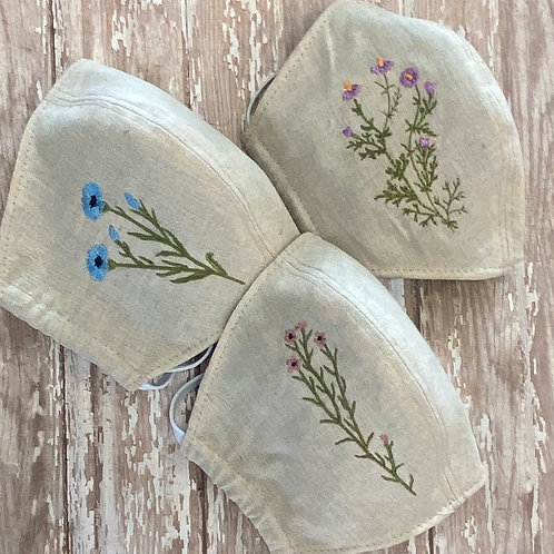Embroidered Wildflower Face Masks