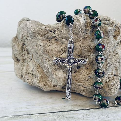 Green Cloisonné Linked Rosary