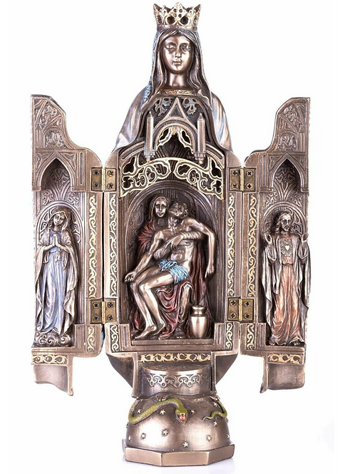 Blessed Mother Mary Statue With the Passion of Jesus Christ