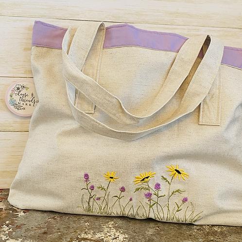 Embroidered Shoulder Bag Sunflowers