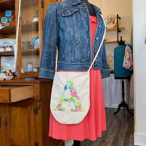 Large Crossbody in Floral Initial